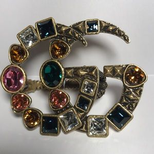 Gucci GG multi finger ring multicolor crystal ring